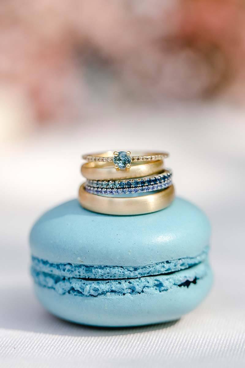 Vorsteckringe, blauen Brillanten und Saphire, Verlobungsring, Eheringe